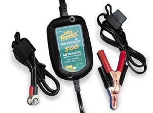 The Deltran Battery Tender Waterproof 800 12-volt/.80-amp Battery Charger with aligator clips and leads