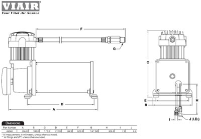 Dimensional design drawing for the VIAIR 45040 450C Air Compressor