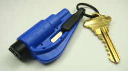 A royal blue ResQMe attached to key chain