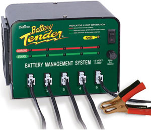 The Deltran Battery Tender 12-volt/2-amp 5-Bank Battery Management System with alligator clips and output cords