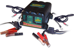 The Deltran Battery Tender Junior 12V Battery Charger with alligator clips, ring terminal, output cord