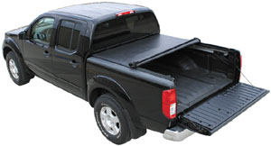 Tratitional roll-up functionality with tailgate open of the TruXedo Deuce soft roll-up hinged tonneau cover