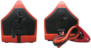 Side view of the Duracell DPP-600HD Powerpack 600 showing DC charge/power socket and removable jump-start clamps
