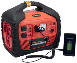 Front view of the Wagan 400-Watt Power Dome EX Jumpstarter using DC power to charge a handheld device
