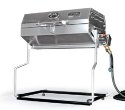The Camco 57305 Olympian RV 5500 Stainless Steel RV Grill standing alone with the use of the mounting bracket