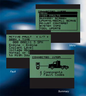 On-tool screen and menu examples for the SPX 3418 OTC Heavy-Duty Reader