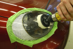 Home power drill used in the buffing step of the 3M Headlight Lens Restoration System
