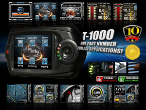 Multiple applications possible using the DiabloSport T-1000 Trinity Dashboard Tuner and Diagnostic Tool