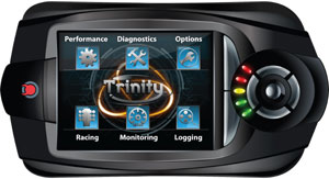 Main touchscreen menu options of the DiabloSport T-1000 Trinity Dashboard Tuner and Diagnostic Tool