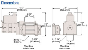 Superwinch UT3000 schematics, including mounting plate and 4-way fairlead