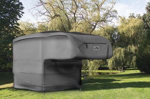 The Camco Ultraguard Slide-in Camper Cover in use