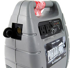 Angled view of the Schumacher PP-2200 Portable Outdoor Power Unit showing the DC power outlet as well as the 2 AC outlets