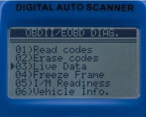 Roadi RDT55 VAG Scan Tool screen with menu options