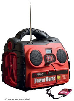 The AM/FM radio of the Wagan 200-Watt Power Dome NX with attached iPod