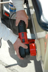 The Shurhold 3100 Dual Action Polisher in use as a buffer