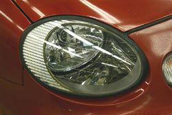 A headlight lens restored to clarity with the 3M 39014 Lens Renewal Kit