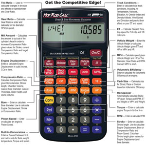 Hot Rod Calc Road and Strip Performance Calculator with features highlighted