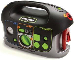 Front view of the Energizer 84020 All-In-One 12V 18Ah Battery Jumpstarter with Air Compressor and Power Inverter