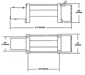 Dimensions of the Superwinch 1585202 LP8500 Series Winch