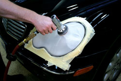 Initial removal of defects using Meguiar's Professional Headlight and Spot Repair Kit