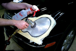Headlight scratch refining using Meguiar's Professional Headlight and Spot Repair Kit