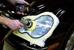 Restoration of headlight clarity using Meguiar's Professional Headlight and Spot Repair Kit