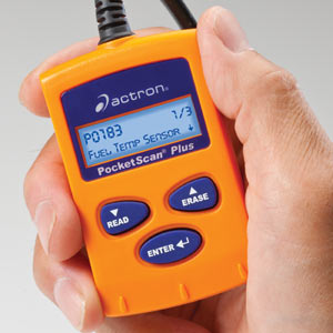 Actron CP9550 OBD-II PocketScan Plus Compact Code Reader Tool in-hand