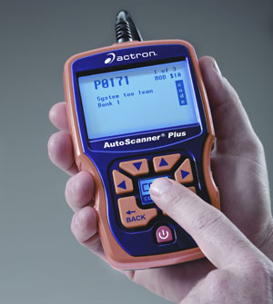 The availibility of CodeConnect data indicated on the Actron CP9580 AutoScanner Plus