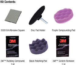 Contents of the kits included in the 3M 39071 Scratch Removal System