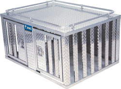 Front, angled view of the UWS DB-4848 48-inch Southern 2-Door Deep Dog Box with Divider