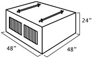 Dimensions of the UWS DB-4848 48-inch Southern 2-Door Deep Dog Box with Divider