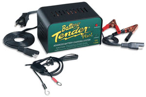 The Deltran Battery Tender Plus 12-volt/1.25-amp Battery Charger with alligator clips, loop connectors and cable