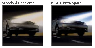 Standard headlamp compared to the GE Nighthawk Sport