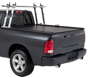 The TracRac 23500 series TracTonneau installed on a truck along with other TracRac elements