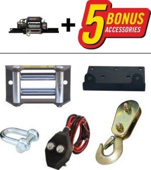 The Champion Winch 18001 includes 5 bonus accessories