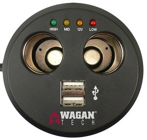 Top view of the Wagan EL2537-5 Twin USB and 12V DC Cup Holder Power Adapter