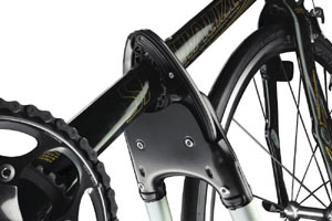 The jaw like configuration of the Big Mouth Upright Rooftop Bicycle Carrier