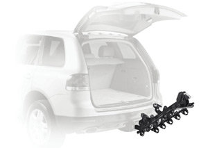 Thule 915XT Roadway 5-Bike Hitch Carrier with empty carrier arms folded back for access to a hatchback