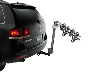 Thule Ridgeline 4-Bike Hitch Carrier with carrier arm angled down