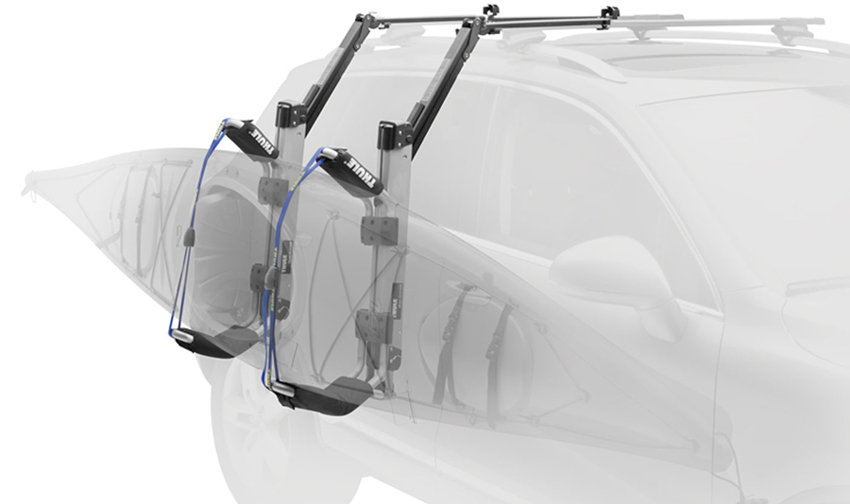 The Thule 897XT Hullavator Kayak Roof Rack Mount Carrier with arms
