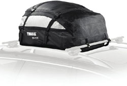 The Thule 867 Tahoe Rooftop Cargo Bag mounted on a vehicle