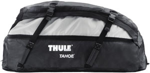 Close up side view of the Thule 867 Tahoe Rooftop Cargo Bag expanded out to maximum size