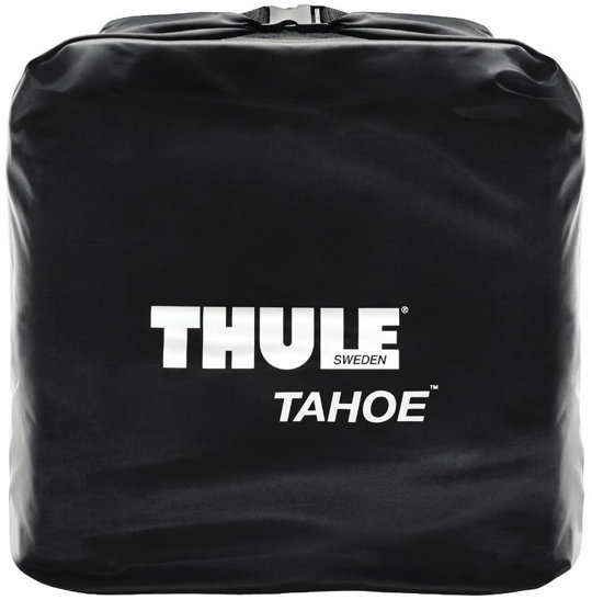 The Thule 867 Tahoe Rooftop Cargo Bag packed in included storage bag
