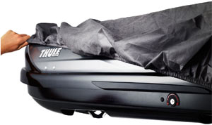Cinchable cargo box cover included with the Thule 611 Boxter Rooftop Cargo Box