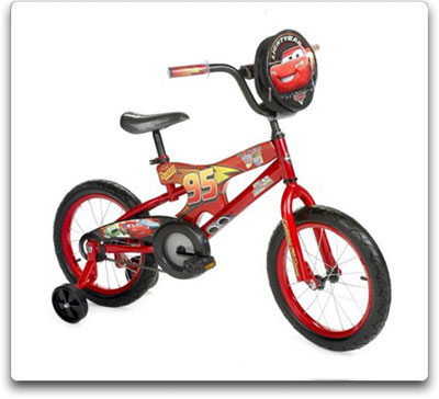 The 16-inch Cars BMX bike features a red steel frame, removable