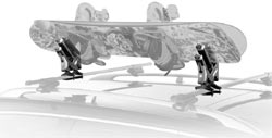 Thule 575 Snowboard Carrier Rooftop Rack holding two snowboards and mounted on a car roof rack
