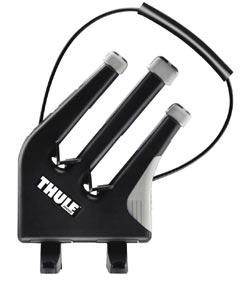 The three-pronged carrier assembly of the Thule 575 Snowboard Carrier Rooftop Rack