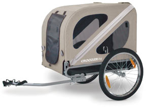 An isolated view of the Croozer dog bicycle trailer
