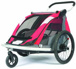 An isolated view of the Croozer 525 double child carrier in stroller mode