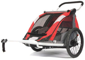 An isolated view of the Croozer 525 double child carrier in bicycle trailer mode